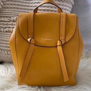 Tahari Knotty Backpack Mustard Vegan Leather